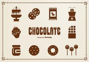 Icone di vettore di sagoma al cioccolato