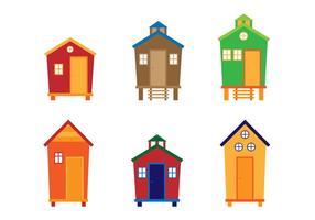 Vettori di cabana colorati piatti