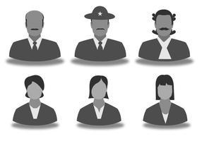 Set di icone sagoma uomini e donne vettore