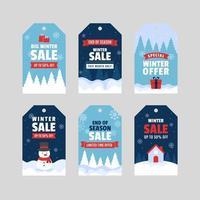 piacevole design dell'etichetta di promozione della vendita invernale vettore