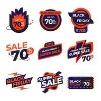 etichetta di vendita venerdì nero in blu e rosso vettore