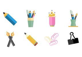 Vettore delle icone delle forniture di ufficio e del supporto di penna