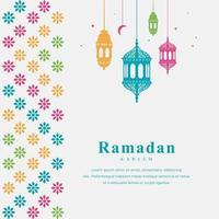 carta eid mubarak con bordo colorato e lanterne appese vettore