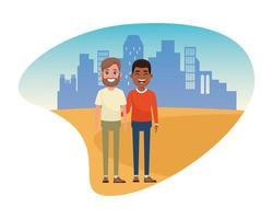 uomini personaggi dei cartoni animati amici in piedi all'aperto