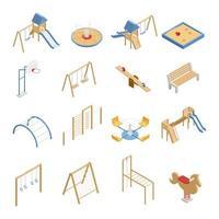 set di icone di parco giochi per bambini isometrica vettore