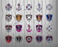 collezione di modelli di logo di ancoraggio vettore