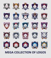 collezione di modelli di logo di baseball vettore