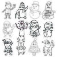 insieme di elementi di Natale in bianco e nero