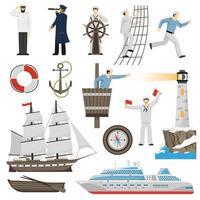 set di icone nautiche e vela vettore