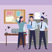 colleghi di lavoro con forniture e attrezzature per ufficio