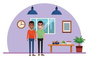 uomini personaggi dei cartoni animati amici in piedi al chiuso