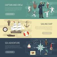 set di banner modello vela e nautico vettore