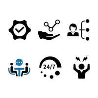 set di icone di servizio business e 24 ore su 24 vettore
