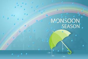 sfondo di stagione dei monsoni con l'ombrello