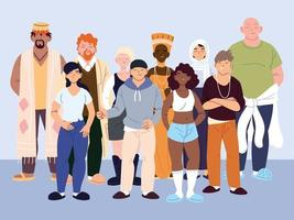 gruppo di persone multiculturali in abiti casual in piedi vettore