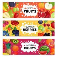 set di banner con frutti naturali vettore