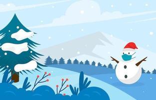 paese delle meraviglie invernale con pupazzo di neve con maschera