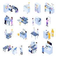 set di icone di scienza isometrica vettore