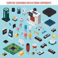set di componenti elettronici semiconduttori isometrici vettore