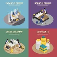 set di composizione di servizi di pulizia isometrica vettore
