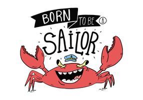 Illustrazione disegnata a mano di vettore del fumetto sveglio del marinaio del granchio