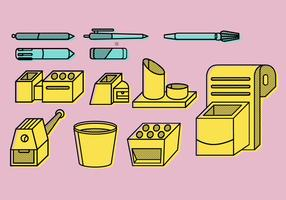 Set di cancelleria da lavoro a forma di penna vettore
