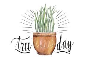 Acquerello di pianta illustrazione carina al giorno dell'albero nazionale