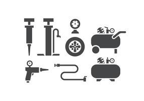 Icone pompa aria e compressore vettore