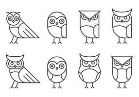 Logo Hipster Linear Owl vettore