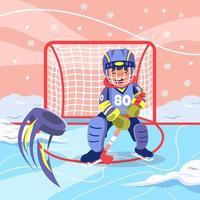 bambino che gioca a hockey su ghiaccio in inverno
