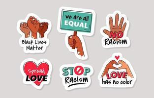 fermare l'autoadesivo disegnato a mano di razzismo vettore