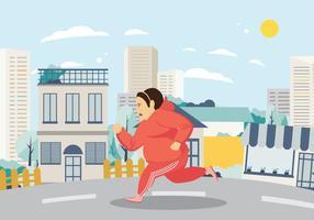 Donna che si esercita e che corre sul vettore della via