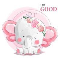 orecchie di farfalla bambina elefante vettore