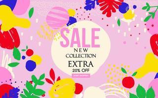 banner del sito Web di vendita di foglie rosa