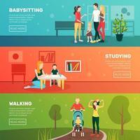 set di banner modello di babysitter e genitorialità vettore