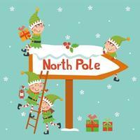 cartolina di natale vintage con simpatico babbo natale ed elfi vettore