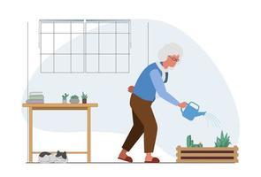 attività di irrigazione delle piante della nonna anziana vettore