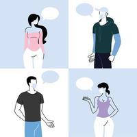persone che parlano a distanza per prevenire il coronavirus vettore