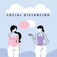 le donne parlano a distanza per prevenire il coronavirus vettore