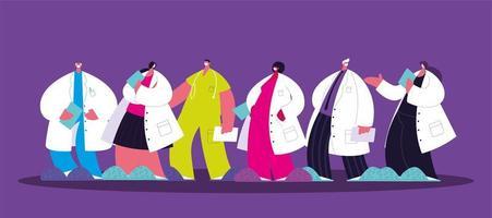 gruppo di medici. personale e team medico vettore