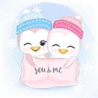 coppia di pinguini per Natale vettore