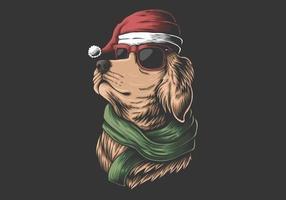cane golden retriever che indossa un cappello da Babbo Natale vettore