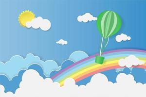 palloncino che galleggia sopra la nuvola con arcobaleno vettore