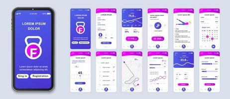 interfaccia smartphone applicazione ui fitness sfumatura viola e rosa vettore