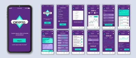 interfaccia per smartphone dell'interfaccia utente di criptovaluta viola e verde