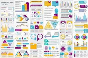 pacchetto di visualizzazione dei dati di elementi infografici colorati vettore