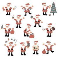 set di personaggi dei cartoni animati di Babbo Natale vettore