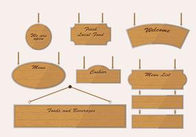 Vettore d'annata di legno del segno dell'insegna in bianco