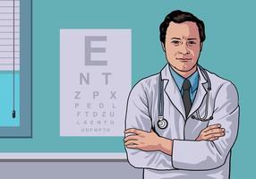 Medico dell'occhio che si leva in piedi nel vettore della clinica