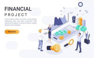 pagina di destinazione isometrica del progetto finanziario